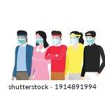 flat vector illustration group... | Shutterstock .eps vector #1914891994