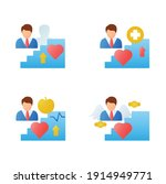 personal growth flat icons set. ...