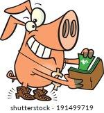 cartoon pig with money in his wallet - stock vector