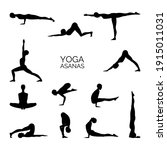 silhouette of some yoga poses.... | Shutterstock .eps vector #1915011031