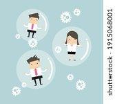 businessman and businesswoman... | Shutterstock .eps vector #1915068001