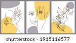 set of creative hand painted... | Shutterstock .eps vector #1915116577
