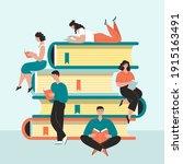 people men women students read...   Shutterstock .eps vector #1915163491