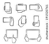 hand holding smart phone  hand... | Shutterstock .eps vector #191520761