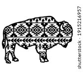 Bison Aztec Style. Tribal...