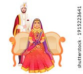beautiful indian bridal sit at... | Shutterstock .eps vector #1915223641