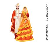 beautiful indian wedding couple ... | Shutterstock .eps vector #1915223644