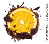 slice of orange with chocolate... | Shutterstock . vector #1915248421