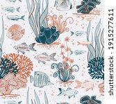 vector hand drawn aquarium life ... | Shutterstock .eps vector #1915277611