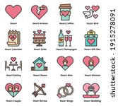 heart love icons line color... | Shutterstock .eps vector #1915278091