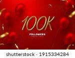 100k followers banner. thank...   Shutterstock .eps vector #1915334284