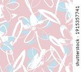 pink floral brush strokes...   Shutterstock .eps vector #1915357741