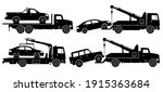 tow trucks silhouette on white... | Shutterstock .eps vector #1915363684