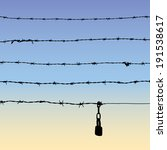 silhouette of barbed wire with... | Shutterstock .eps vector #191538617