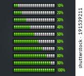 green progress bar set. 10 100  | Shutterstock .eps vector #191539211