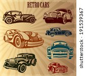 sets of silhouette retro cars | Shutterstock .eps vector #191539367
