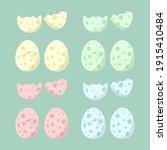 dinosaur eggs. eggs with cracks ... | Shutterstock .eps vector #1915410484