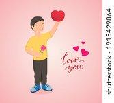 happy boy holding love heart....   Shutterstock .eps vector #1915429864