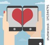 love on mobile. vector... | Shutterstock .eps vector #191544791