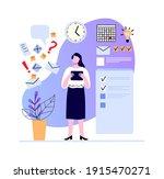 woman make plan and set task ... | Shutterstock .eps vector #1915470271