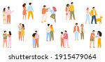happy walking couples. cute... | Shutterstock .eps vector #1915479064