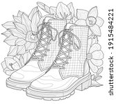 shoes and flowers.coloring... | Shutterstock .eps vector #1915484221
