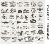 vector retro surf label set. | Shutterstock .eps vector #191555915