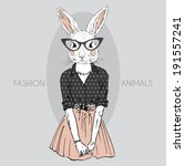 fashion illustration of bunny girl dressed up in hipster style - stock vector