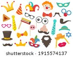happy purim carnival set funny... | Shutterstock .eps vector #1915574137