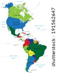 north and south america map | Shutterstock .eps vector #191562647