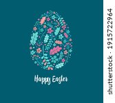 happy easter greeting card.... | Shutterstock .eps vector #1915722964