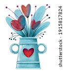 Watercolor Blue Vase With Red...