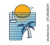 nature beach line graphic...   Shutterstock .eps vector #1915828654