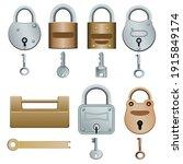 set of padlocks isolated on... | Shutterstock .eps vector #1915849174