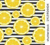 seamless pattern with lemons.... | Shutterstock .eps vector #1915904404