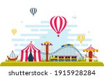 circus carousel amusement park...   Shutterstock .eps vector #1915928284