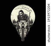 skull grim reaper ride...   Shutterstock .eps vector #1915972204