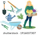 a young blonde woman with a box ... | Shutterstock .eps vector #1916037307