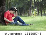 young men are thinking. in the... | Shutterstock . vector #191605745