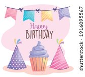 happy birthday lettering with...   Shutterstock .eps vector #1916095567