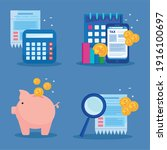bundle of four tax day icons...   Shutterstock .eps vector #1916100697