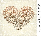 vector doodle coffee  tea and... | Shutterstock .eps vector #191613965