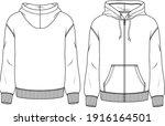 men fleece top fashion flat... | Shutterstock .eps vector #1916164501