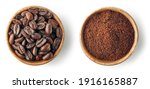 Wooden Bowls Of Coffee Isolated ...