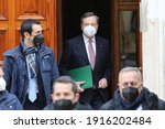 Small photo of ROME, Italy - 13.02.2021: The premier of italian government Mario Draghi, exit from the house in Rome for to go to Presidente Mattarella to Quirinale for begin new govern in Italy after Giuseppe Conte