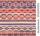 seamless kilim rug square pixel ... | Shutterstock . vector #1916243351