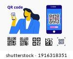 capture qr code on mobile phone.... | Shutterstock .eps vector #1916318351