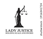 Lady Justice Holding Scale And...