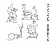 man training on exercise bike...   Shutterstock .eps vector #1916344781