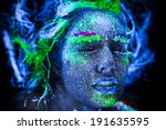 woman's face with fluorescent... | Shutterstock . vector #191635595